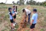 Eric Hurn preparing a hole for the Crookwell students
