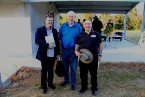 Bill Gammage Centre with Paul Hodgkinson Agronomist/Native Grassland specialist (left) and Ngambri Aboriginal Elder Shane Mortimer (right)