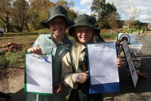 Two very studious notetakers from St Mary's Primary School , Alex Slattery and Emily Secomb