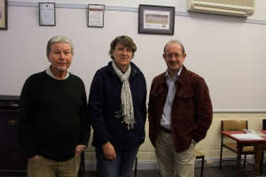 Gary Howling from Great Eastern Ranges Initiative providing funding to continue the Tussock Tamers program.  From left  Tussock Tamer project manager Bob Spiller, Upper Lachlan Landcare Network chairperson Nerida Croker and Principal Conservation Manager for Great Eastern Ranges, Gary Howling.