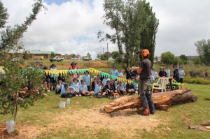 Adam Humphrey's taking advice from the Crookwell Primary School students on the length of the platypus tail