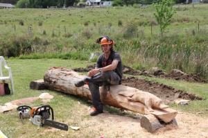 Adam Humphreys with the nearly completed Platypus. The remaining timber will be used a seat.