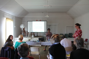 "Geetha Ortec explaining the ""who's living on my land"" project to the Fullerton/Hadley Landcare group"